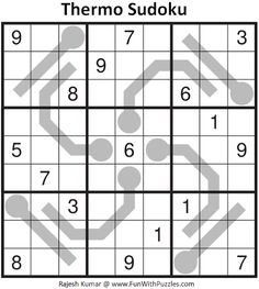 Thermo Sudoku Puzzle (Daily Sudoku League #213) Sudoku Puzzles, Train Your Brain, Brain Teasers, Riddles, Mind Games, Puzzle, Brain Games