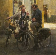 Conversation in Via Fillungo by James Crandall in the FASO Daily Art Show Bicycle Art, Painting People, Classical Art, Old Dolls, Klimt, Art World, Figurative Art, Landscape Paintings, Oil On Canvas
