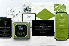 Deanna & Joe's custom wedding invitations different green though this ones disgusting www.emmajdesign.com