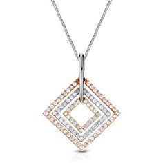 Shop for Auriya  14k Tri-color Gold 1/2ct TDW Round Diamond Square Necklace (G-H, I1-I2) and more for everyday discount prices at Overstock.com - Your Online Jewelry Store!