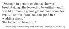 Tamala Jones on Stana in the wedding dress