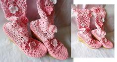 Cizme crosetate cu fir de bumbac in doua nuante de roz. contact cpetrisor155 yahoo.com ...