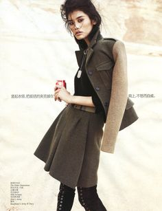 army chic: ming xi by benny horne for vogue china september 2012