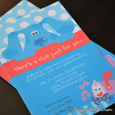 Blues Clues Birthday Party Invites - DIY Printables. $5.95 USD, via Etsy.