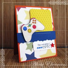 Created this birthday card using Whimsie Doodles' Epic Birthday image and sentiment. Great for a young (or young-at-heart) gamer. :)