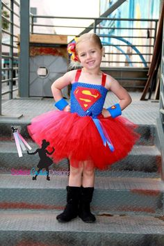 Super girl superhero tutu dress and costume.