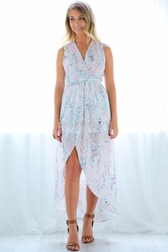 Ambrosia Maxi Dress in Pastels $69.90   The Ambrosia Maxi Dress in Pastels is a timeless and flattering wrap style maxi dress in an on trend digital pastel print.  In a soft washed chiffon fabric, the waist can be cinched in to fit your body to perfection.