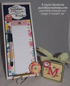 "Convention roommate gifts - altered file folder, matching pen, jumbo paper clip, and personalized mini frame.  This set was made with the ""Gingham Garden"" designer series paper."