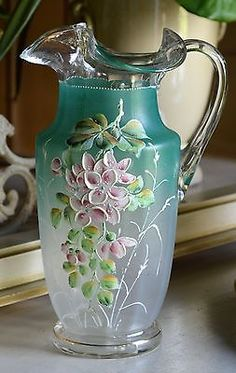 *ANTIQUE VICTORIAN ~ Pink Lilac Flower, Hand Painted Enameled Pitcher, Rough Pontil