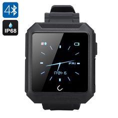 Uterra Bluetooth Smartwatch - IP68 Waterproof, Android + IOS APP, IPS Screen, Phone Call, SMS, Pedometer, Sleep Monitor (Black)