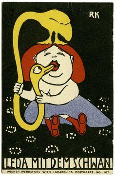 RUDOLF KALVACH, »Leda mit dem Schwan«. Postkarte Nr. 107 der Wiener Werkstätte, 1907 © Privatbesitz