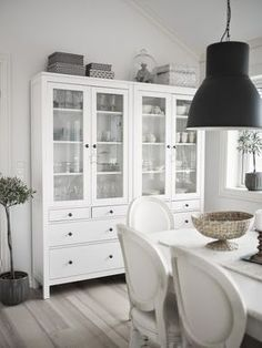 Living room with Hemnes furniture from Ikea Source by melyrielo Ikea Dining Room, Dining Room Storage, Dining Room Design, Ikea Hemnes Living Room, White Buffet Cabinet, White Hutch, Hektar Ikea, Ikea Hemnes Cabinet, Ikea Cabinets
