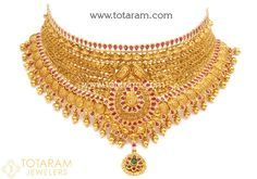 22 Karat Gold Choker Necklace with Color Stones (Temple Jewellery) Gold Earrings Designs, Gold Jewellery Design, Necklace Designs, Gold Jewelry, Bridal Jewelry, Diamond Jewelry, Gold Designs, Jewelry Art, Jewelery