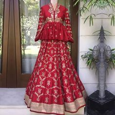 Fiery red signature embroidered peplum & embroidered lehenga! ・・・・・・ Contact us on +917330687770 or email us on jayantireddyofficial@gmail.com for enquiries and orders. ・・・・・・ #Jayantireddylabel #Jayantireddy #India #Clothes #Red #Style #Wedding #Fashion #CraftedWithLove #JR Indian Gowns Dresses, Indian Fashion Dresses, Indian Designer Outfits, Pink Gowns, Fashion Clothes, Fashion Fashion, Bridal Dresses, Winter Fashion, Girls Dresses