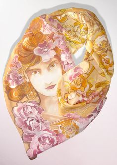 Silk scarf 'Mucha Rose'  Art Nouveau silk scarves  por MinkuLUL
