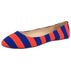 Lillybee U Gameday Flats ($58) ❤ liked on Polyvore featuring shoes, flats, ballet / loafers, shoes flats, orange ballet flats, royal blue flats, orange shoes, ballerina pumps and ballerina flats