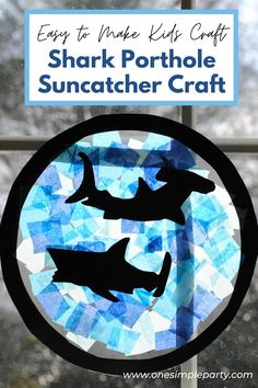 This Shark Porthole Suncatcher Craft will make you feel like you are swimming with the sharks.  Includes free printable template to make cutting out the sharks easy.  And instructions to create as the activity at your shark birthday party.  Check it all out on our blog here.  #sharkportholesuncatcher #sharksuncatcher #sharkcraftsforkids #sharkcraft #sharkcraftpreschool #sharkbirthday