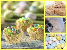 Easter nests are simply Rice Krispies treats molded into the shape of birds' nests using a muffin tin. The treats are then topped with coconut, jelly beans and/or chocolate Easter eggs. Make these treats with the kids, and serve at your Easter egg hunt. Rice Krispy Treats Recipe, Rice Krispie Treats, Cereal Treats, Holiday Treats, Holiday Recipes, Easter Recipes, Dessert Recipes, Easter Desserts, Easter Cupcakes