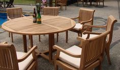 Find 7 Pc Grade-A Teak Wood Dining Set - 60 Round Table And 6 Giva Arm / Captain Chairs online. Shop the latest collection of 7 Pc Grade-A Teak Wood Dining Set - 60 Round Table And 6 Giva Arm / Captain Chairs from the popular stores - all in one Cheap Patio Furniture, Teak Outdoor Furniture, Garden Furniture Sets, Coastal Furniture, Patio Dining, Patio Chairs, Patio Table, Teak Table, Lounge Chairs