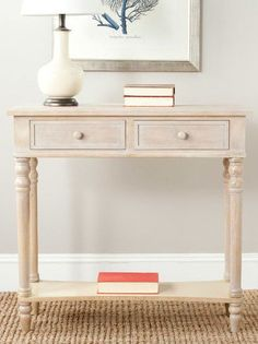 weathered console table