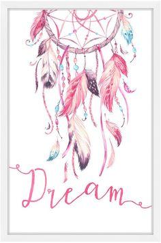 Marmont Hill Pink Dreamcatcher (Framed Print)