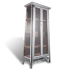 Hand worked stainless cabinet with glass inserts is based on classical Chinese design. Antique Chinese Furniture, Chinese Element, Stainless Steel Cabinets, Chinese Design, French Door Refrigerator, Cupboards, Shelving, Locker Storage, Chrome