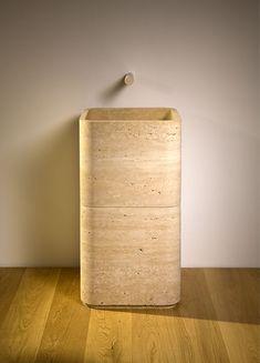 stone wash basin - lavabo in pietra Travertine Bathroom, Natural Stone Bathroom, Stone Bathtub, Natural Stones, Pedastal Sink, Square Bathtub, Stone Basin, Marble Polishing, Basin Design