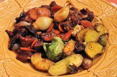 Seitan Bourguignon, roasted fingerling potatoes, brussel sprouts, and braised leeks.  Vegan!