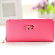 EUBags Womens Wallet Clutch Bowknot Leather Wallets Card Holder Case Long Ladies Purse Wallet for Women Rose at Amazon Women's Clothing store: