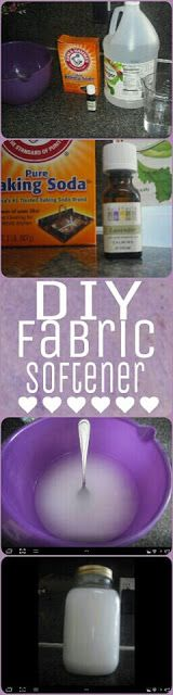 DIY liquid Fabric Softener - NOT the kind with chemical-heavy conditioners: 1 Cup of distilled water, 1 Cup baking soda, 2 Cups of white vinegar, 25 Drops of essential oil