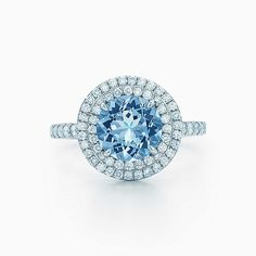 Tiffany Soleste® ring in platinum with a .70-carat aquamarine and diamonds from Tiffany & Co. in Market Street - The Woodlands