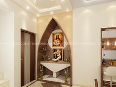 Trendy home icon prayer corner ideas Pooja Room Door Design, Home Room Design, Home Interior Design, Living Room Designs, Home Altar Catholic, Sainte Rita, Altar Design, Prayer Corner, Kerala House Design