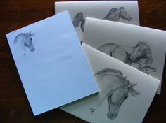 Horse lover stationery gift pack - equine pencil drawings - 6 cards and one note pad. $11.00, via Etsy.
