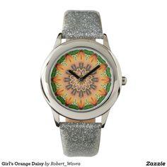 Girl's Orange Daisy Wristwatches