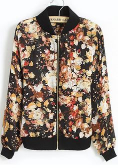 ++ Black Floral Zipper Long Sleeve Loose Chiffon Coat