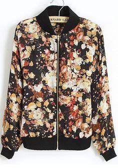 Black Floral Zipper Long Sleeve Loose Chiffon Coat