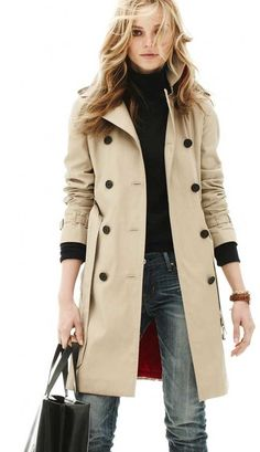 Trench coat w/jeans & black turtleneck. i love the mix of colors
