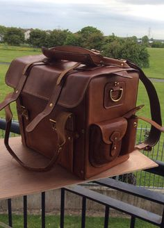"""14"""" length, 11"""" height, 8"""" width LEATHER HANDMADE TOURIST MOTORCYCLE TRAVEL BAG…"""