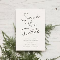 I've just found Minimalist Save The Date Card. A minimalist style Save the Date card in classic black and white, with an informal handwriting style font. . £1.75