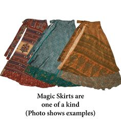 Long Magic Skirt Silk Sari Wrap Skirt (choose your color) Diy Clothing, Sewing Clothes, Dress Patterns, Sewing Patterns, Sewing Tutorials, Learn To Sew, Refashion, Diy Fashion, Cool Outfits