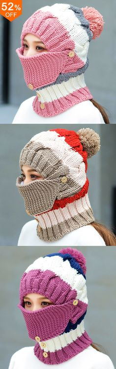 Women Winter Windproof Warm Plus Velvet Knit Hat Scarf Set with Face Mask Thicken Ski Earmuffs Cap Knitting Projects, Crochet Projects, Knitting Patterns, Crochet Patterns, Pattern Sewing, Knit Crochet, Crochet Hats, Crochet Winter, Winter Accessories