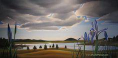 """""""White Mountains, Purple Irises"""" (Wild flowers at Big lake, AZ) 24x48 oil on canvas Dyana E. Hesson"""