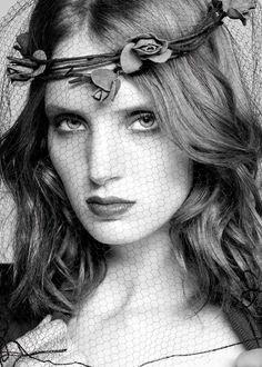 Yulia Gorbachenko #bw #face #fishnet #net #veil #garland