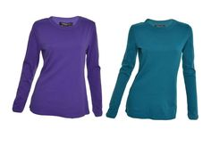 Central Park West Womens Top Crew Neck S M Long Sleeve T-Shirt Purple Teal NEW #CentralParkWest #KnitTop #Casual