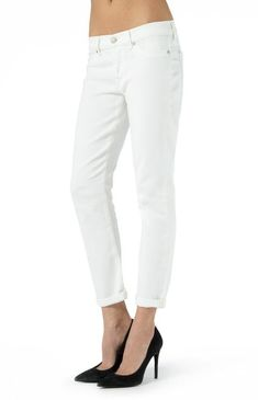 7 For All Mankind Josefina White Boyfriend Jeans - Jessimara Outerwear Women, Distressed Jeans, Boyfriend Jeans, Fashion Boutique, Capri Pants, Denim, Clothing, Shopping, Collection