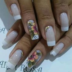 Flower Nail Designs, French Nail Designs, Flower Nail Art, Nail Polish Designs, Beautiful Nail Designs, Beautiful Nail Art, Beautiful Things, Fancy Nails, Pretty Nails