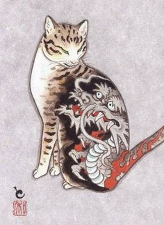 Meet Kazuaki Horitomo - a California-based Japanese artist that has two great passions in life - cats and tattoos. The artist decided to combine the two and great new project was born - Monmon Cats. Japanese Cat, Japanese American, Tattoo Gato, Image Chat, Oriental Cat, Asian Tattoos, Cat Tattoos, Bodysuit Tattoos, Japanese Tattoo Art
