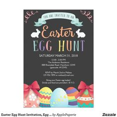 Easter Egg Hunt Invitation, Egg Hunt Invite, easter egg hunt, egg hunt, easter, easter party, easter lunch, easter dinner, easter celebration, happy easter, chalkboard, easter egg, ideas, 5x7 Paper Invitation Card