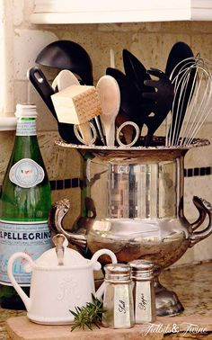 TIDBITS TWINE Champagne Bucket Utensil Holder Redesign   The Art of Shopping Your Own Home