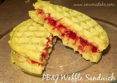 Waffle Sandwich PB+J - use the gluten free waffles since they taste better than gf bread.